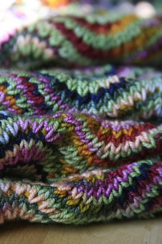 Beautiful knitting.  Chevron Scarf knit with Socks That Rock by the boastful baker, via Flickr
