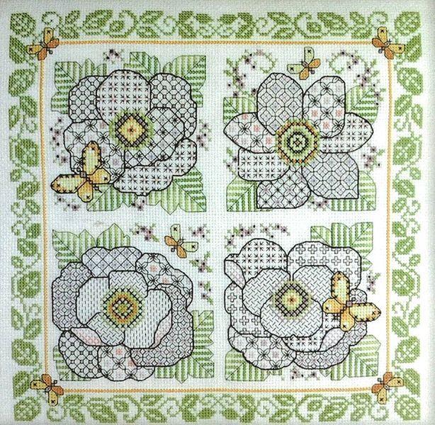 Four Blackwork Flowers Cross Stitch Blackwork  pattern from Leslie Teare. Www.artsanddesigns.com