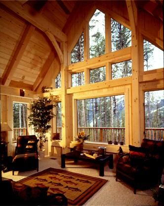 Timber frame home great room in montana dream home for Timber frame great room