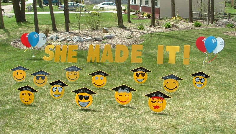 Graduation Yard Greetings Cards Lawn Signs Happy Birthday Over The Hill Party Rentals Michigan