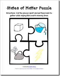 No Doubt Learning States Of Matter Puzzle Cc Cycle 2 Week 13 A Visual Help For Memory Work