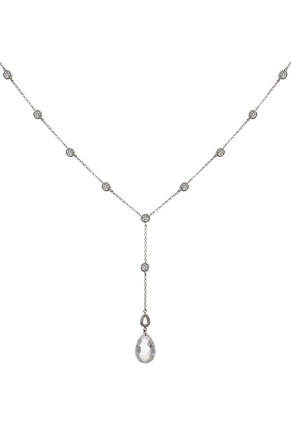 18K white gold plating over sterling silver with white sapphires (also available in yellow gold plating). Adjustable chain can be worn at 16 or 18 inches. The bottom of the Y hangs 1.75 inches long.