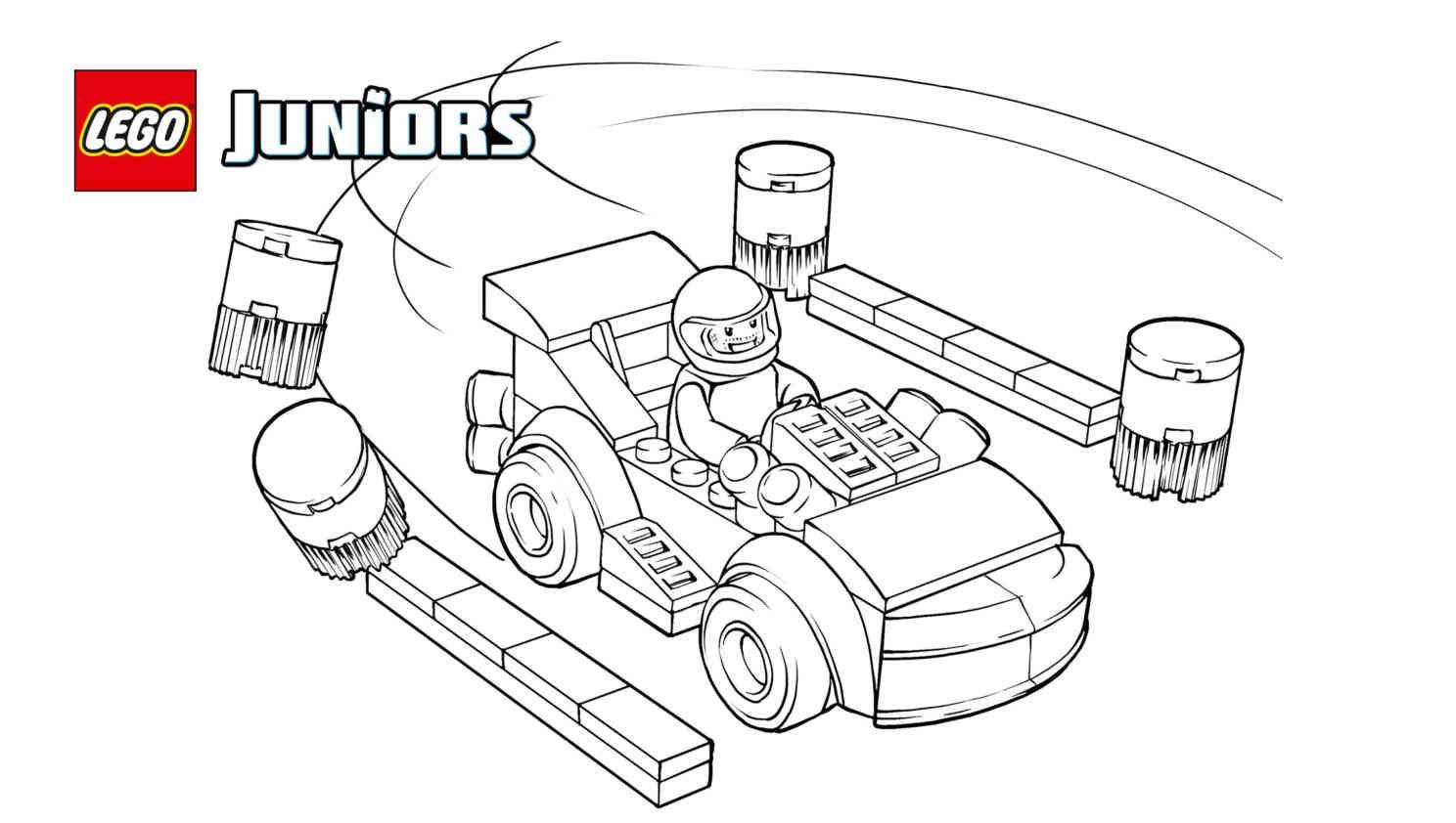 Lego Juniors Racing Car Driver Coloring Page Lego Juniors Lego Lego Videos