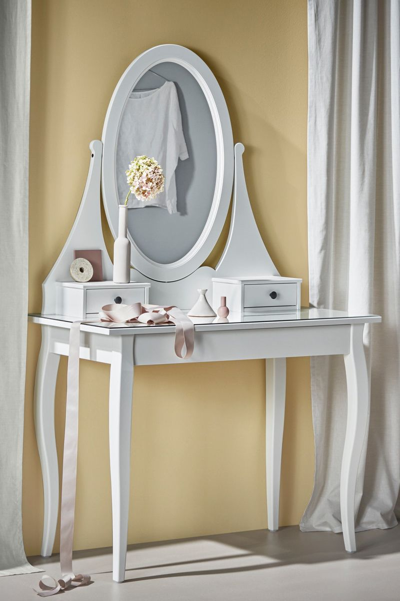Hemnes Frisiertisch Mit Spiegel Weiss Ikea Deutschland