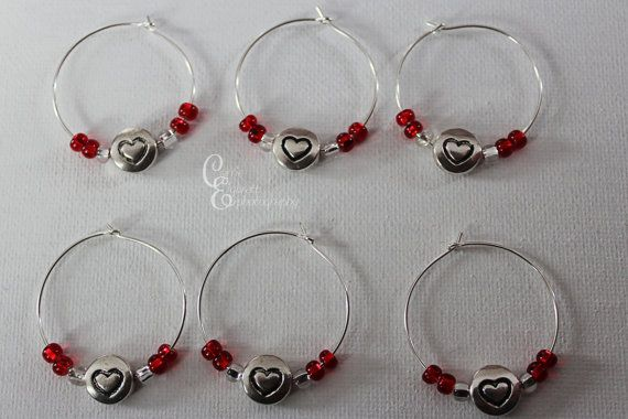 Beaded Wine Charm with #heart charms Set of by CarriesCreativeChaos, $12.00 #winecharms #etsy #love #red