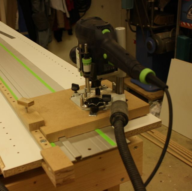 Shelf hole jig for festool track but adapt this to Bosch | cabinet ...