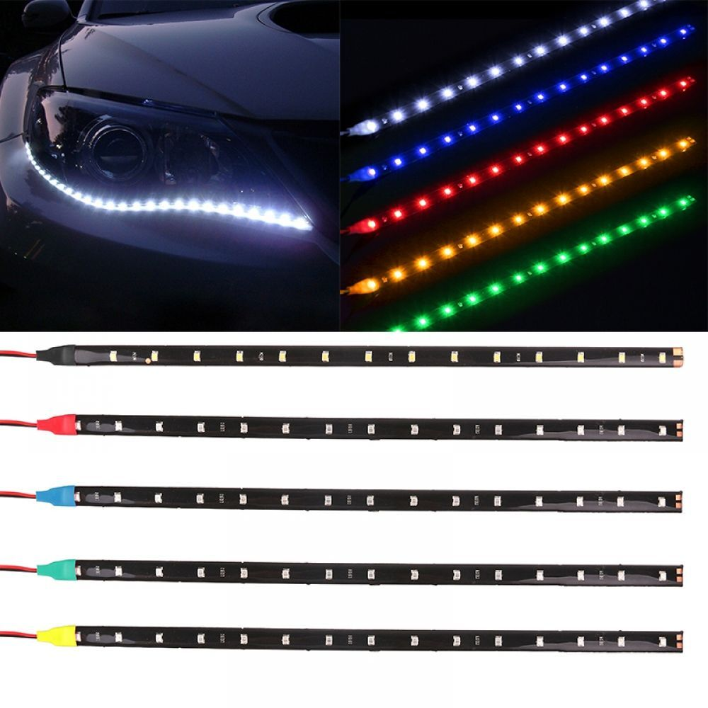 2x60cm Flexible Slim Led Strip Light Waterproof Flexible Turn Signal Drl Running Light Yellow Flowing Daytime Led Strip Lighting Strip Lighting Running Lights