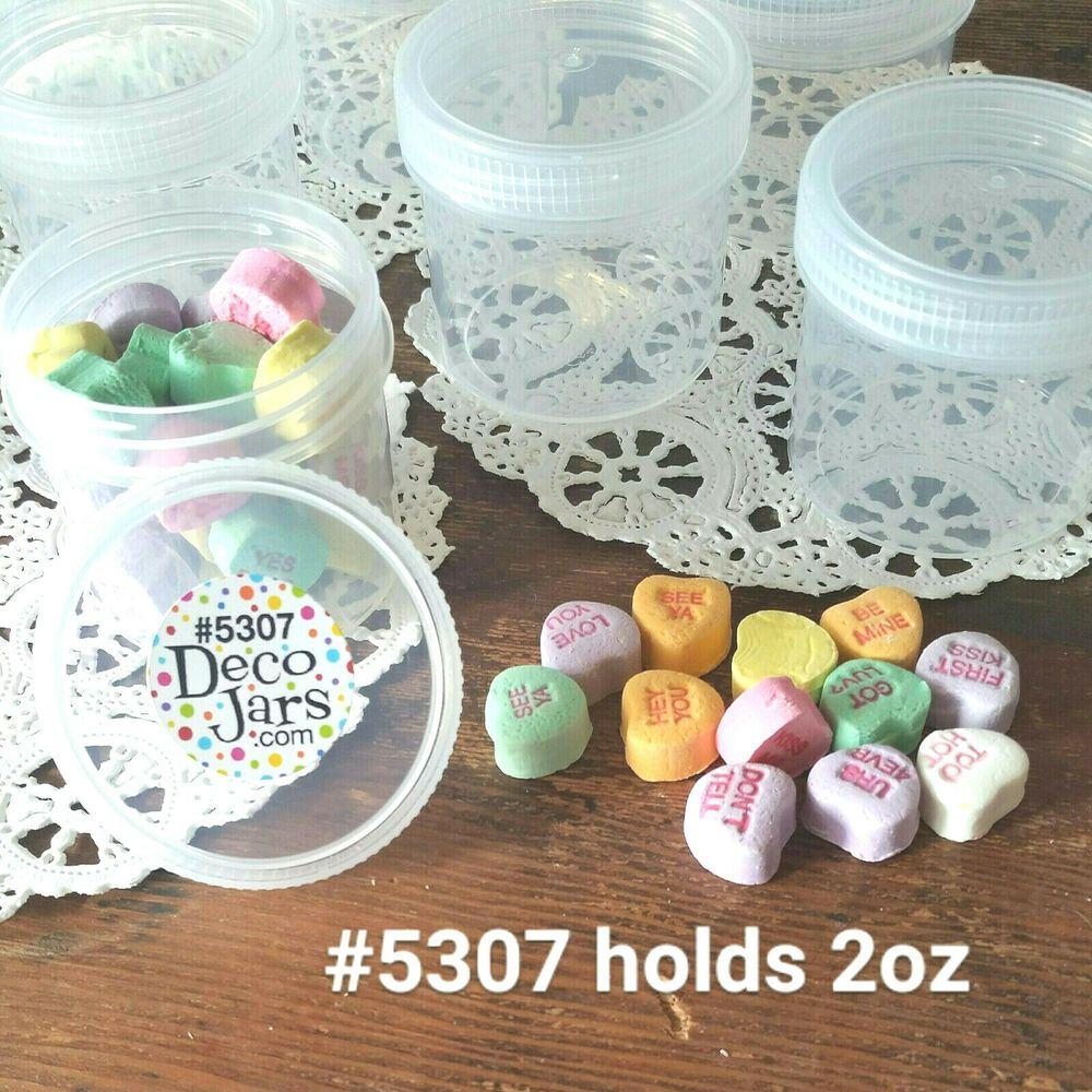 10 Screw On Top Food Safe Snack Reusable Jars 2 Ounce Container Plastic 5307 Decojars Jar Containers Jar Snack Jars