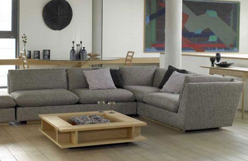 Grey Sofa - Oak Tables (needs A Rug) | Living Room Ideas Oak, Oak Dining Room, Contemporary Living Room Design