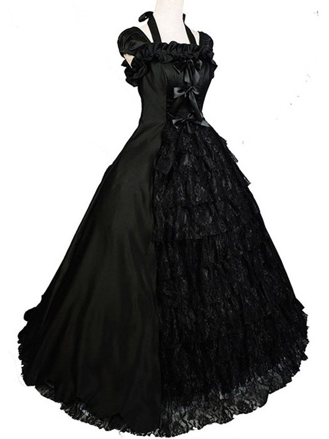 4e119094dff62 Amazon.com: Black Wedding Dress Gown Gothic Lolita Victorian Halloween  Custom…
