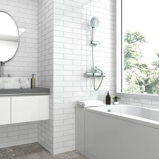 Elida Ceramica 3x12 Super White Glass 3 In X 12 In Glossy Glass Subway Wall Tile Lowes Com Wall Tiles White Glass Bathroom Wall Tile