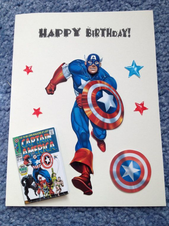 Avengers Card Funny Birthday Card Captain America Birthday Card Happy Birthday Greeting Card Handmade Products Notecards Greeting Cards