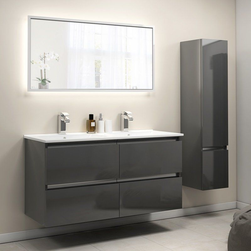Pemberton Anthracite Double Basin Unit Wall Hung 4 Drawers In 2020