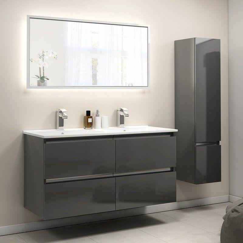 Pemberton Anthracite Wall Hung Double Basin Unit 4 Drawers Bathroom Basin Units Bathroom Units Double Basin Vanity Unit