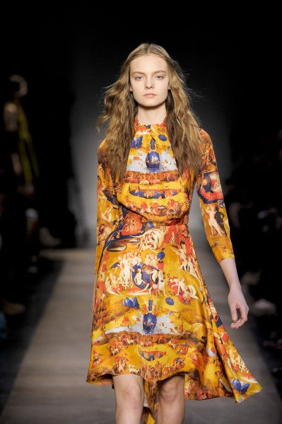 CARVEN AW12 | Hieronymus Bosch's The Garden of Earthly Delights Print 3/4 Sleeve Jabot Collar Silk Dress In Yellow