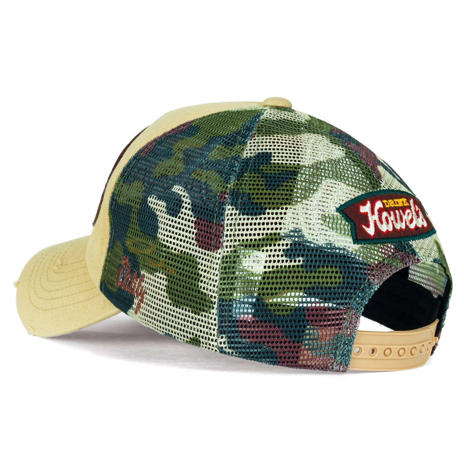 413cf60a8a853 Howel s Camouflage Baseball Mesh Cap Distressed Vintage Trucker Hat ...