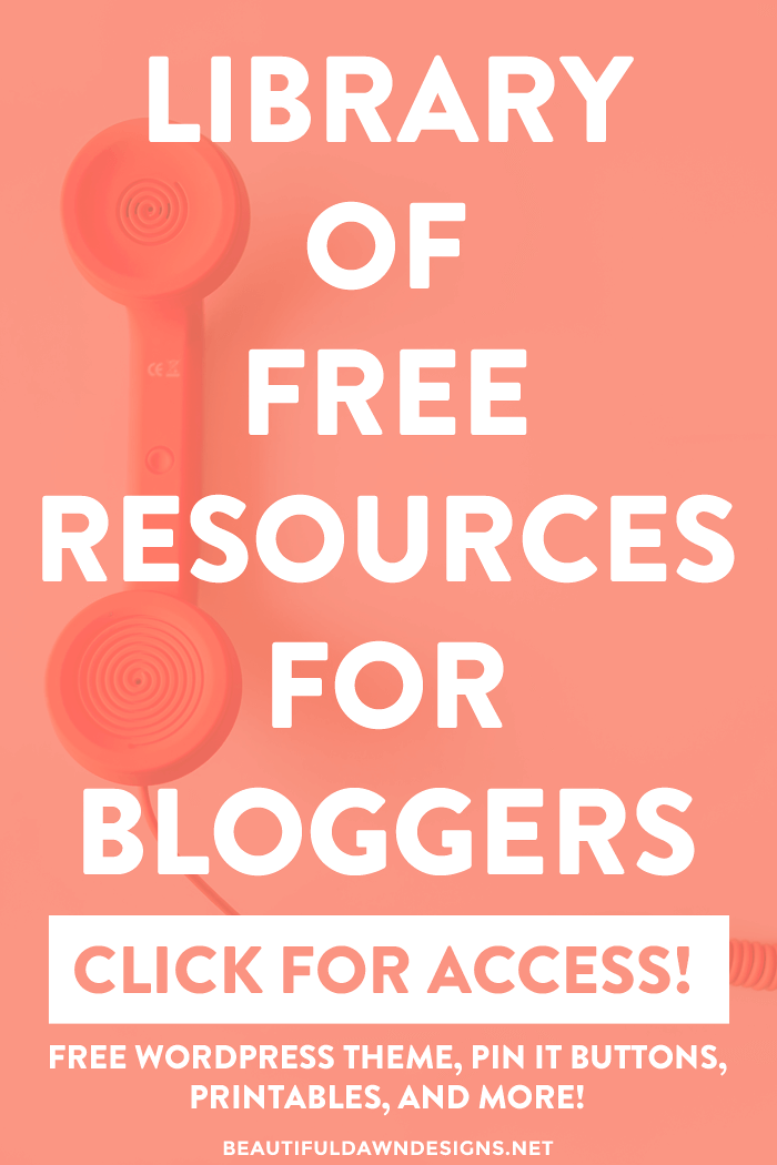 """Get access to our free resource library for bloggers. This library features a free WordPress theme, """"pin it"""" buttons, printables, and more!"""