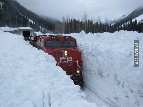 Train navigating through the Canadian snow