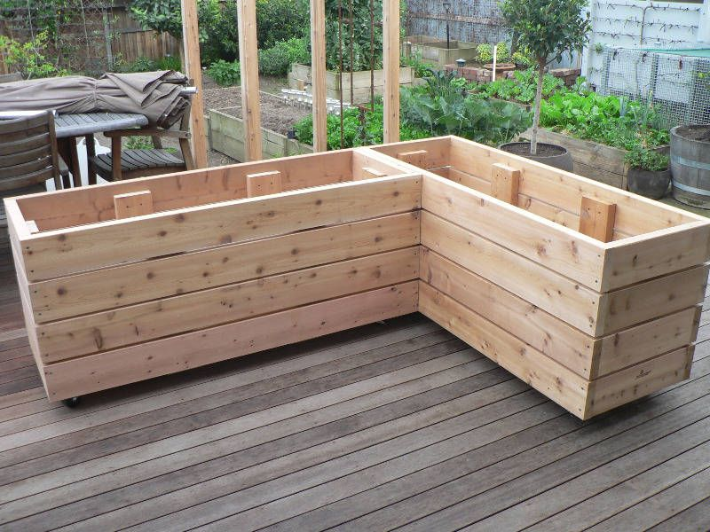 Details about Large Wooden Garden Step Planter Trough Two Tier Veg