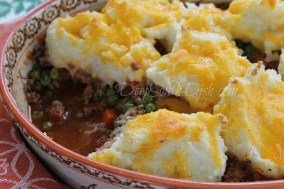 American Shepherd's Pie, known elsewhere as Cottage Pie, is a mixture of ground beef and vegetables, topped with mashed potatoes and cheese and a great way to use up leftovers.