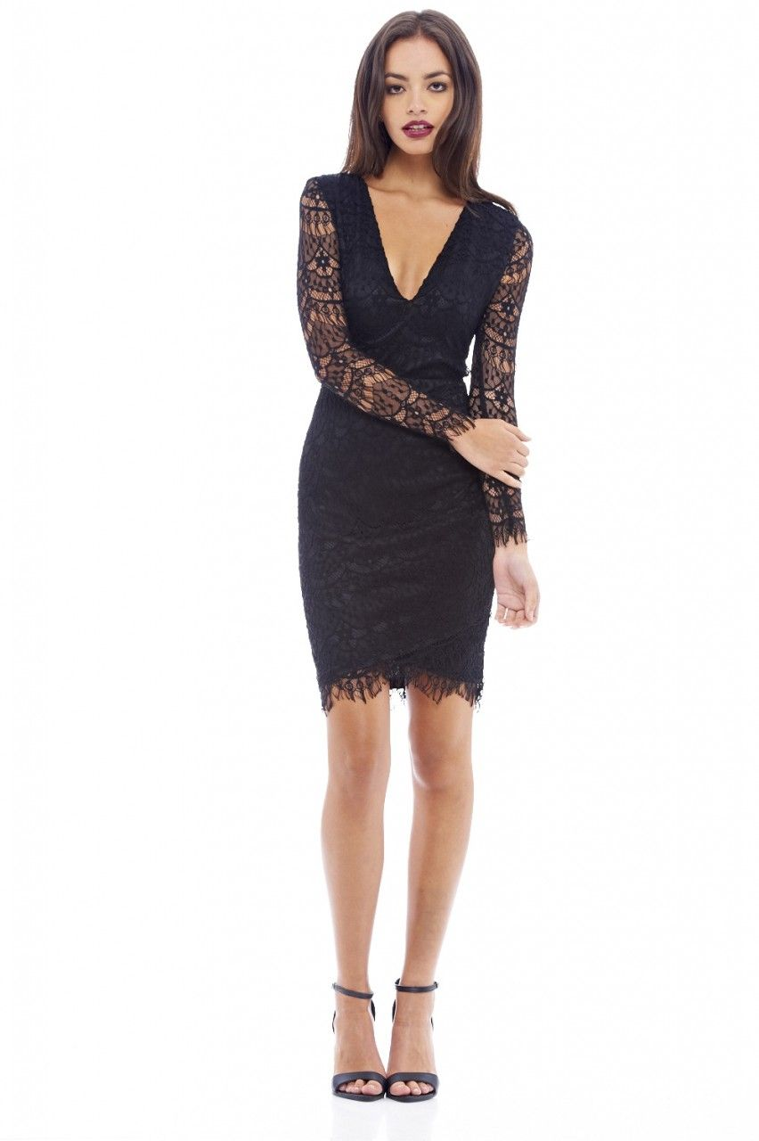 V Front Lace Bodycon Dress - AX Paris | makeup.hair | Pinterest ...