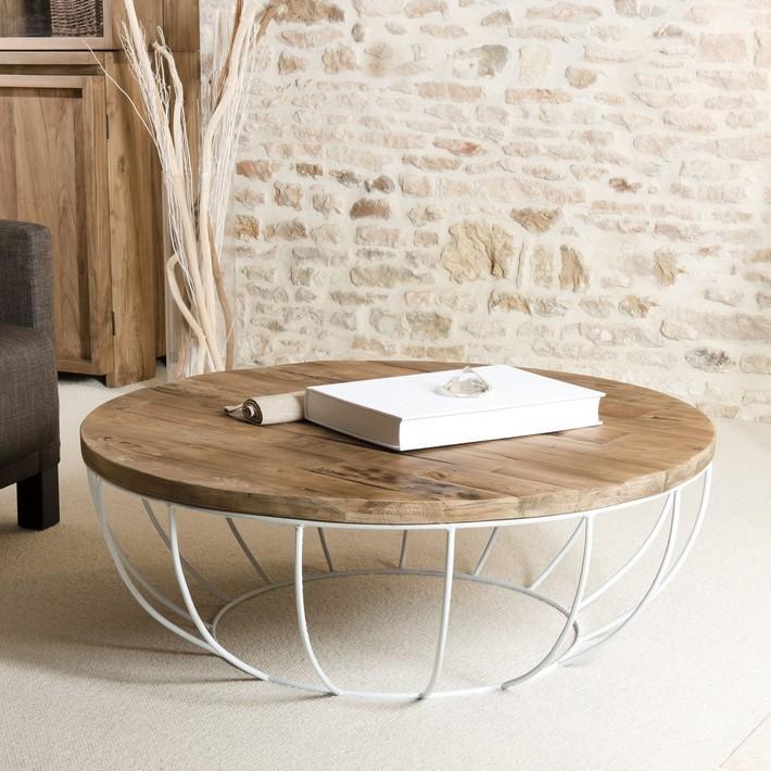 Table Basse Ronde En Bois Et Metal Blanc Pour Un Bel Interieur Style En 2020 Table Basse Ronde Table Basse Ronde Bois Et Table Basse