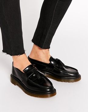 Dr Martens Adrian Black Leather Tassel Loafer Flat Shoes