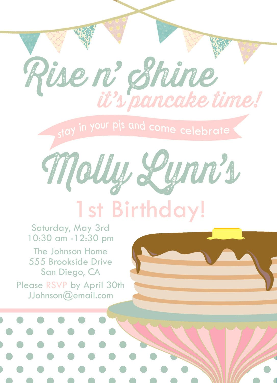 Pancakes and Pajamas Birthday Party by ConfettiColoredDay on Etsy ...