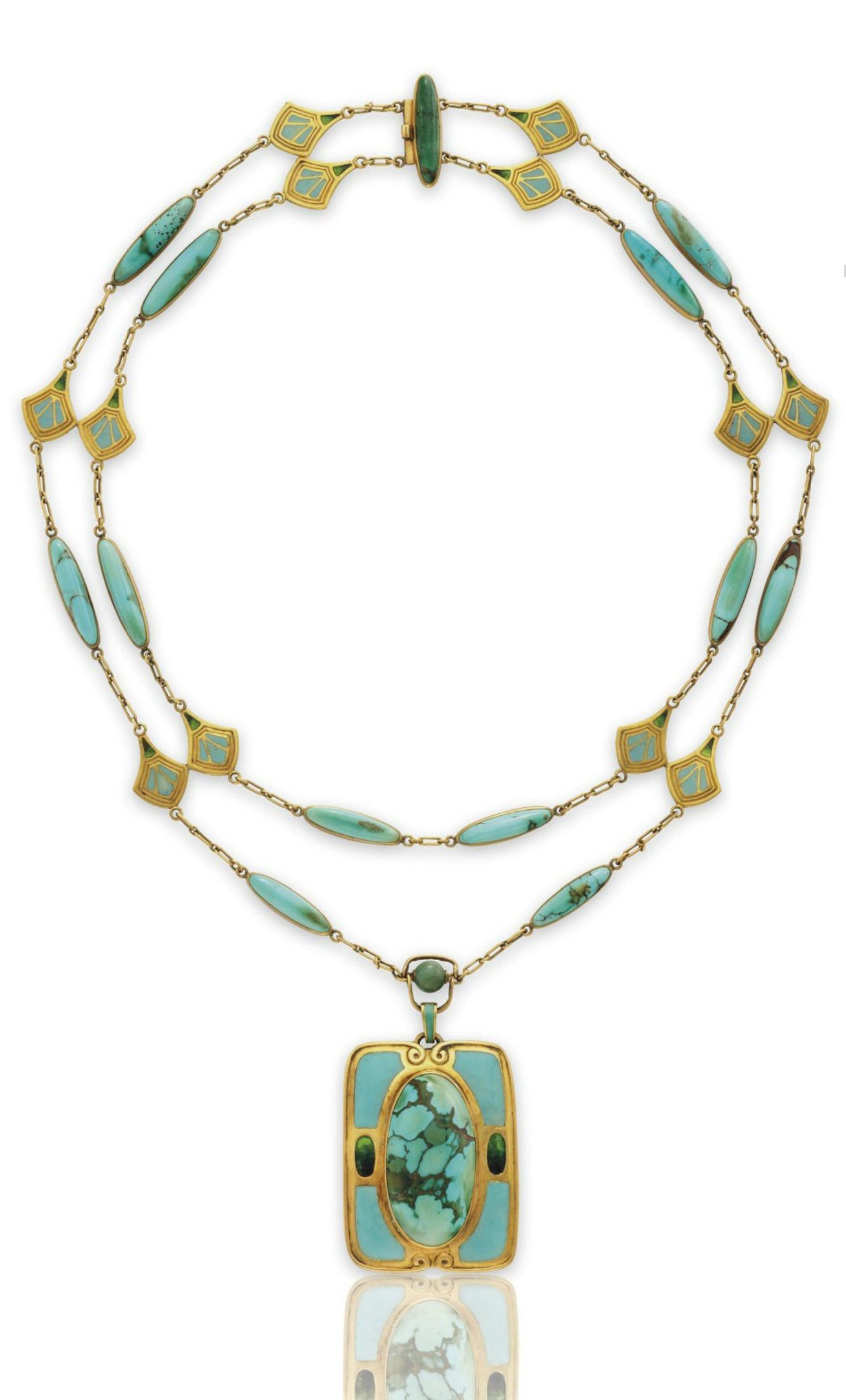 Louis Comfort Tiffany Tiffany Co A Turquoise Enamel And Gold Necklace Circa 1910 Suspending A Rectangular Gr Tiffany Necklace Necklace Tiffany Jewelry