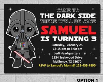 Star Wars Darth Vader Invitation Kids Birthday Boys Birthday Invite