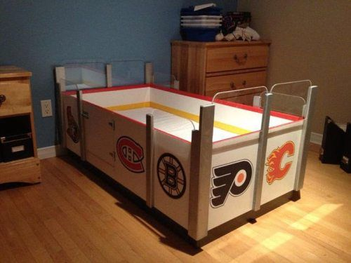 Coolest Hockey Bed Ever Comes With Penalty Box Door To Climb In Hockey Room Hockey Bedding Hockey Bedroom