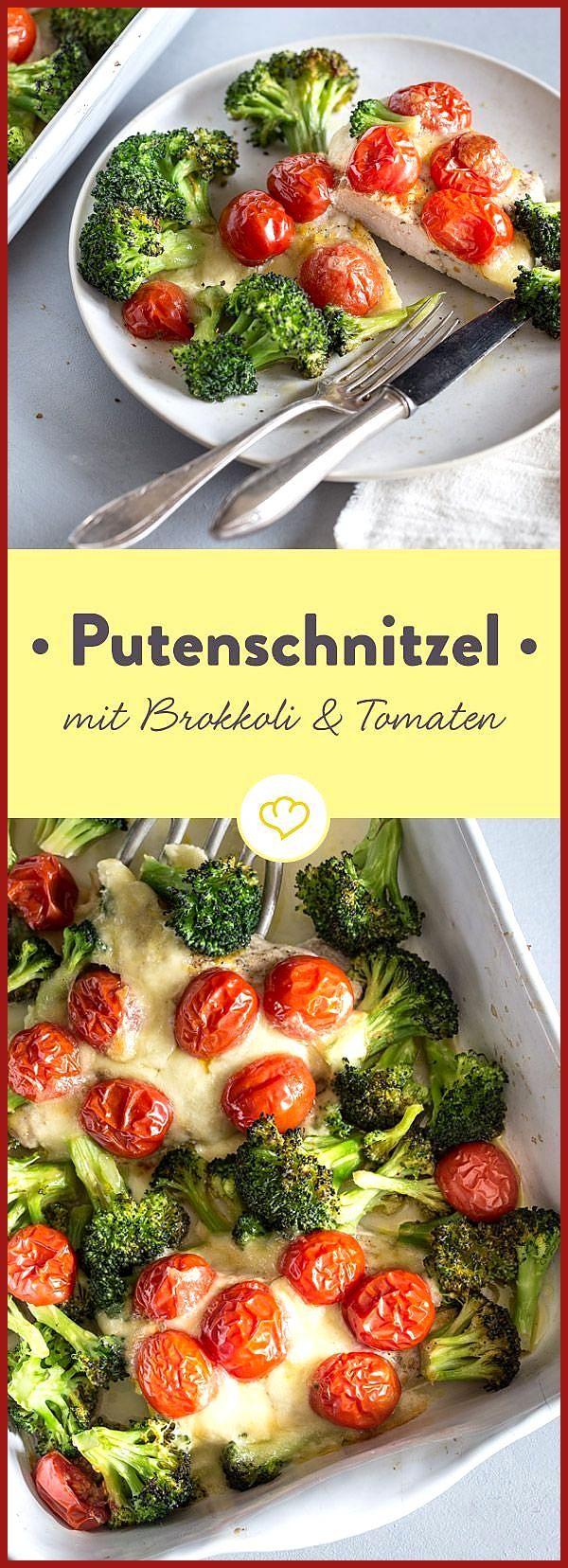 Low-Carb-Putenschnitzel mit Brokkoli und Kirschtomaten #Brokkoli #Fitness food easy #Fitness food lu...