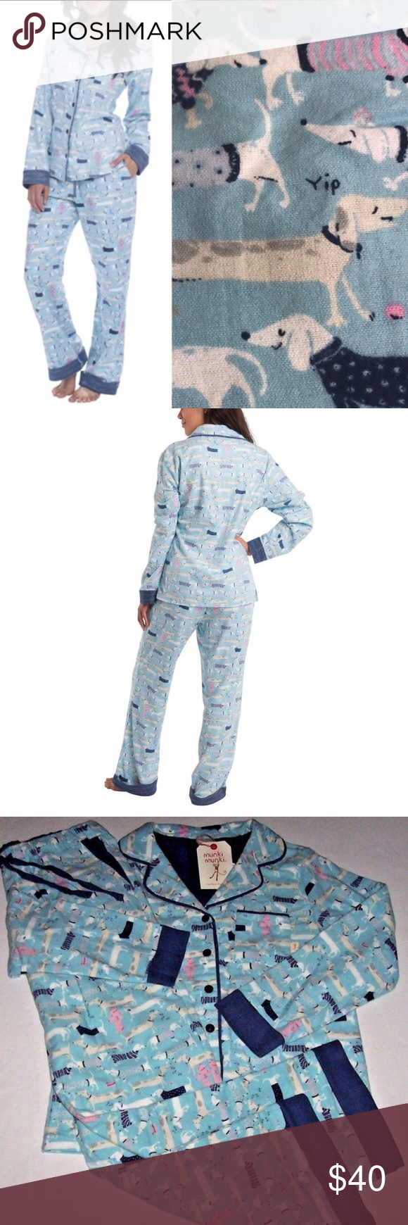 baeadbc7d6 Munki Munki Weiner Dogs Flannel Pajama Set Description Munki Munki Women s  Classic Long-sleeve Pajamas
