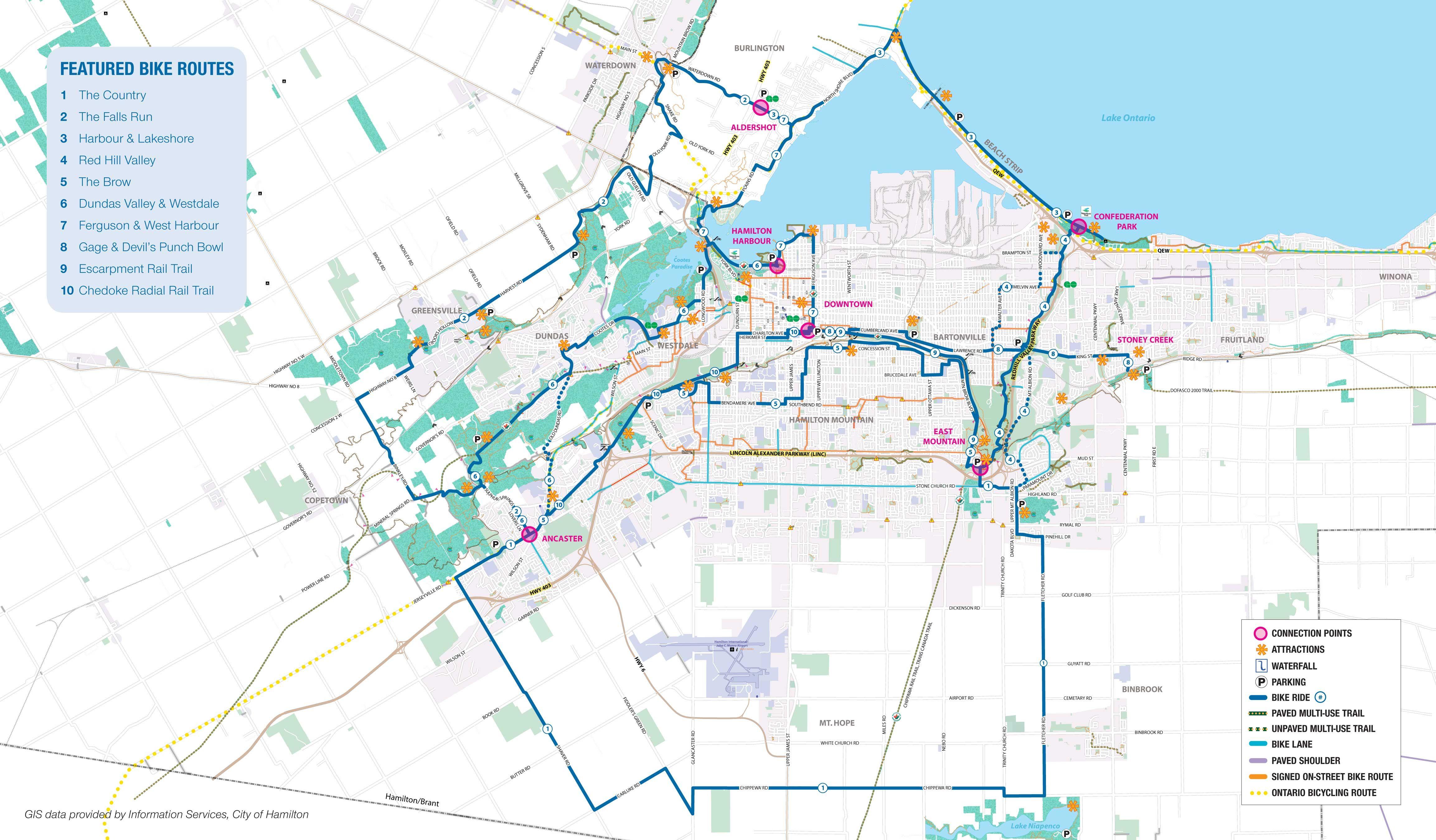 Hamilton Cycling Map.