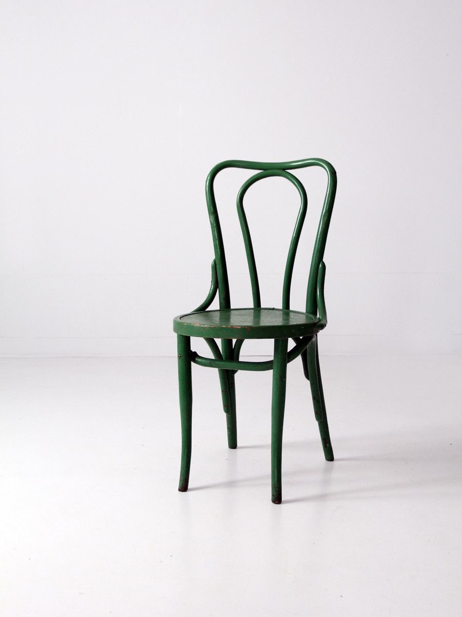 Vintage thonet style cafe chairs with stenciled seats - Bentwood Chair Circa 1930