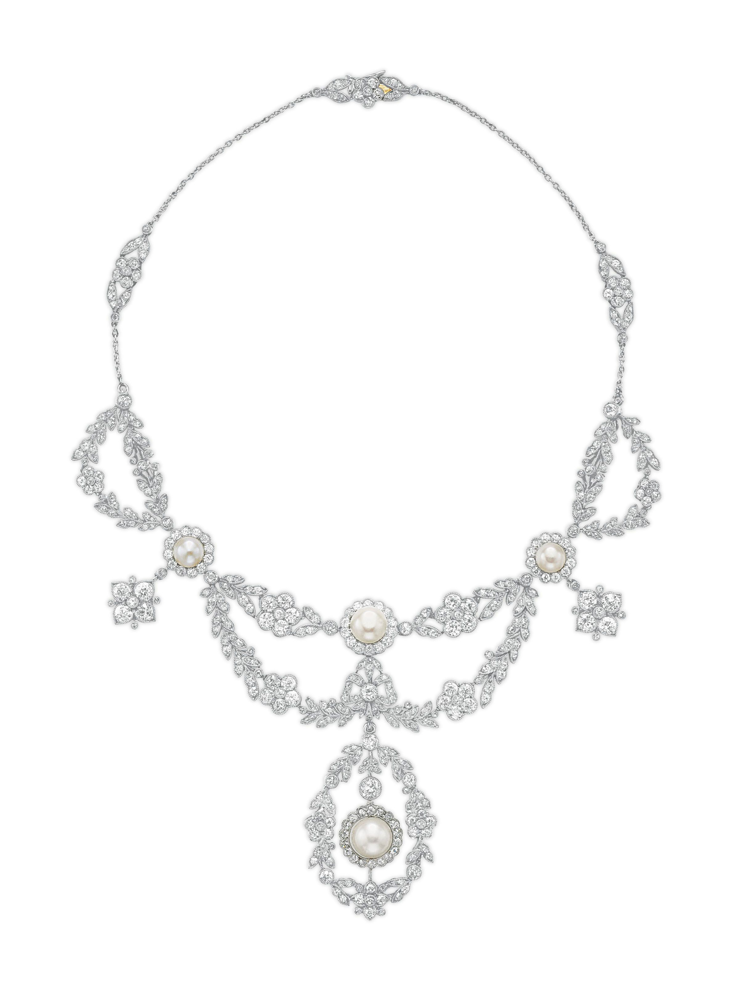 d6083517883a BELLE ÉPOQUE NATURAL PEARL AND DIAMOND NECKLACE
