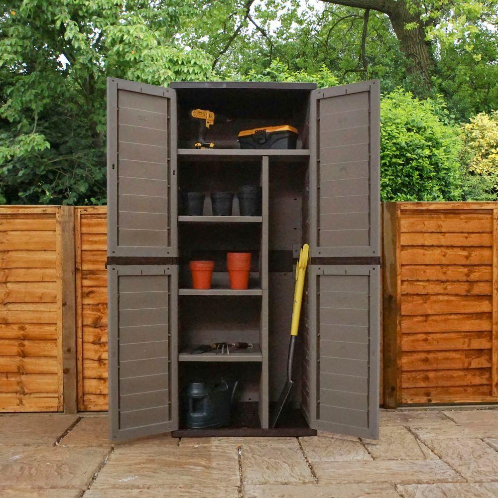 Garden storage box 540l outdoor waterproof 4 shelf plastic