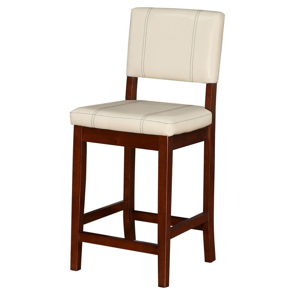 Milano 24 Counter Stool Hardwood/Cream (Ivory) - Linon