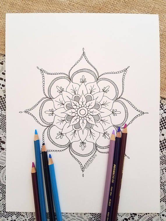 Mandala Coloring Page Black White Drawing