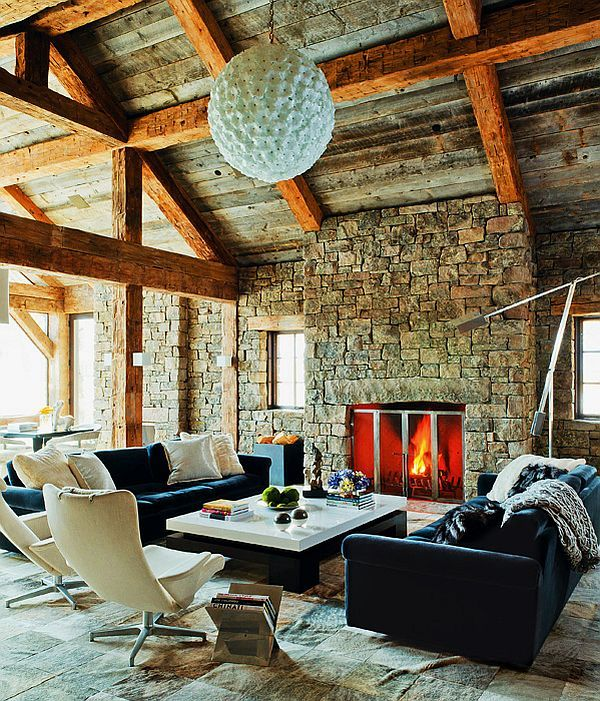 Modern Montana residence with a western interior | Exposed beams ...