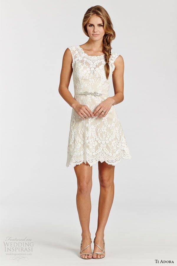 Ti adora weding dress spring 2015 lace short dress sheer for Short spring wedding dresses