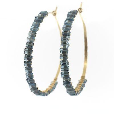 Judith Bright Jewelry - GF Cleo Hoops, $228.00 (http://www.judithbright.com/14k-gf-mini-rocks-cleo-hoops/)