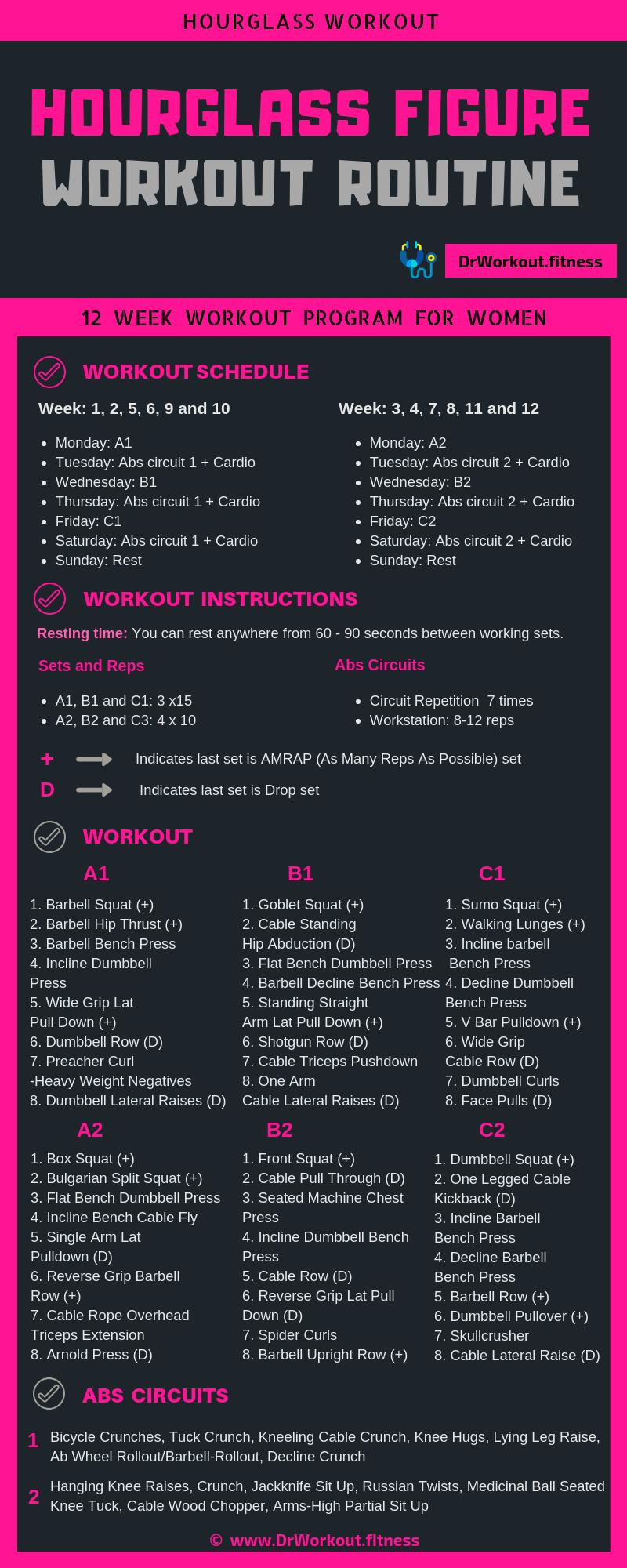Hourglass figure workout plan | 12 week advanced hourglass workout plan for women #workout #fitness...