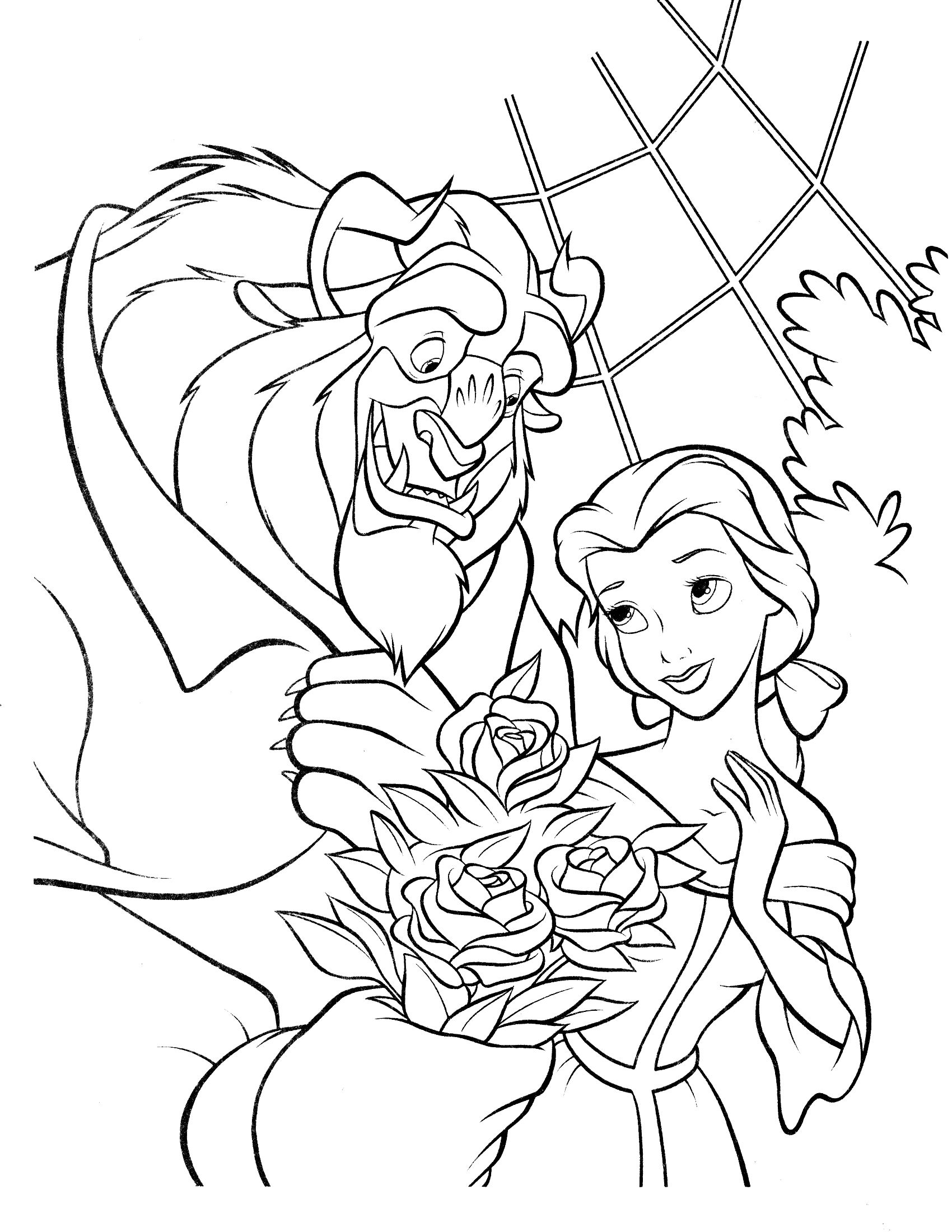 beauty and the beast coloring page Belle coloring pages