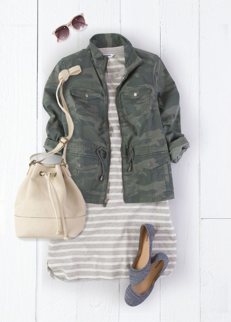 e89c4ab3e7cdc This look from SONOMA Goods for Life works because the lightweight camo  jacket complements the heather gray and white stripes of the knit ...