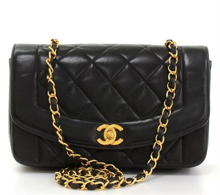 a1eb9b4a7859 Black Quilted Lambskin Vintage Diana Classic Single Flap Bag in 2019 ...