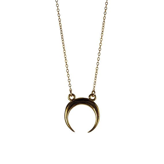 Dianas Bow Crescent Necklace Half Moon Horn Pendant 14k Gold