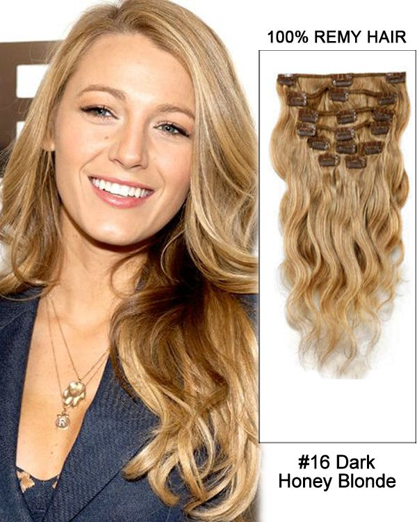 14 7pcs 16 dark honey blonde body wave 100 remy hair clip in dark honey blonde body wave remy hair clip in human hair extensions pmusecretfo Gallery