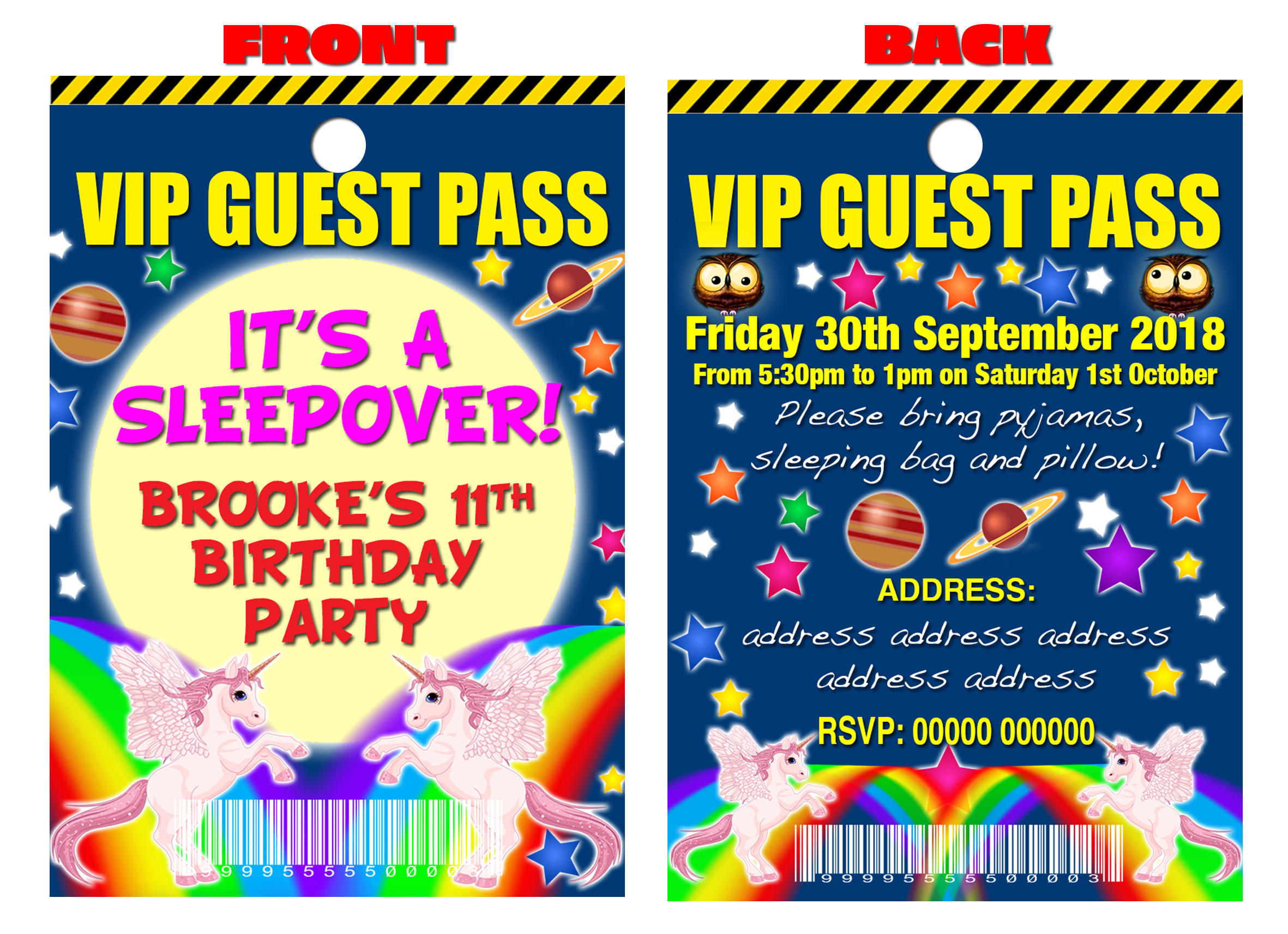PARTY INVITATION LANYARD VIP Guest Pass Roller Skating Disco Pink Personalised
