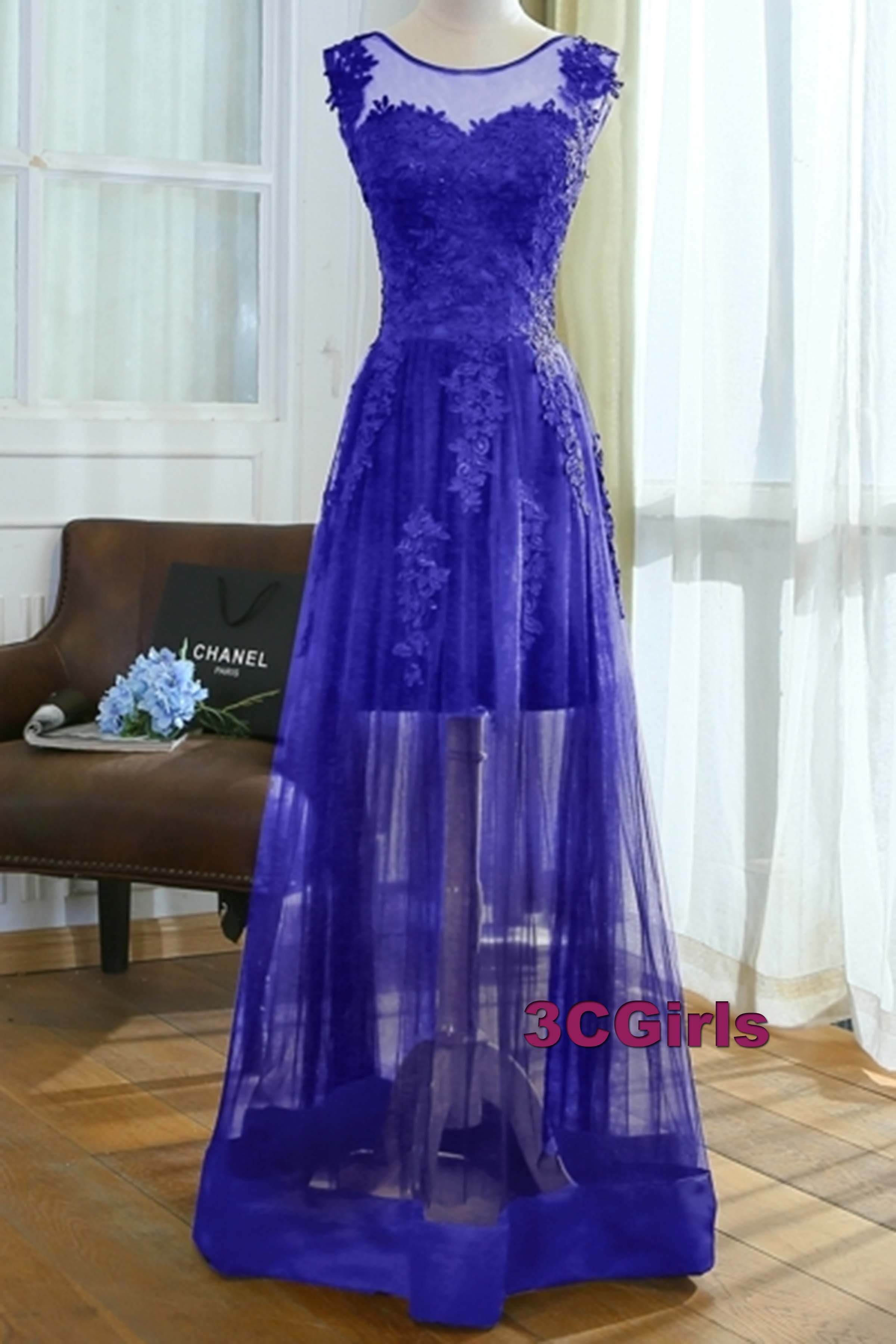 Modest prom dress formal dress royal blue lace tulle long evening